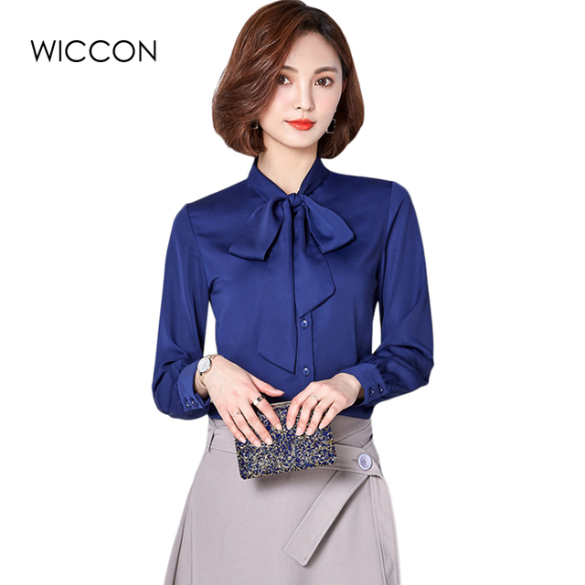5dc1b6950b0 2018 Korean Women Elegant Bow Tie 4 Colors Blouses Chiffon Casual Shirt  Office Ladies Tops School Blusas Female Clothing WICCON