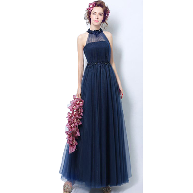 New Arrival Halter Party Dress Corset Sleeves Appliques Beaded Tulle