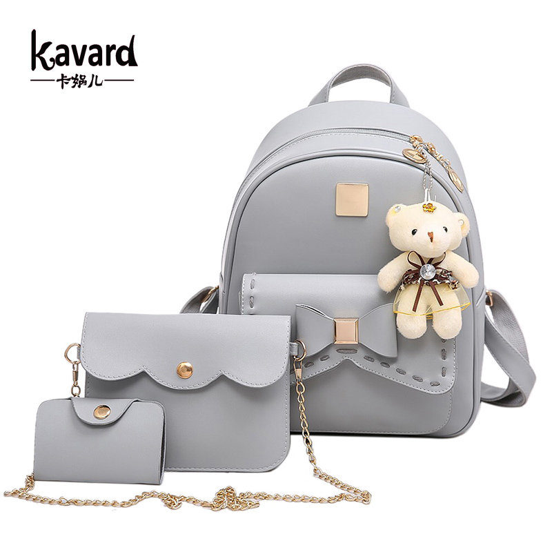 Kavard Fashion Backpack Women Pu Leather Back Pack Famous Brand School Bags for Girls sac a dos femme with Purse and Bear 2017 global elementary coursebook with eworkbook pack