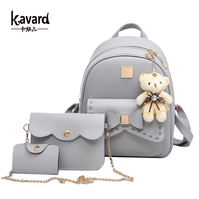 f170c105ae Kavard Fashion Backpack Women Pu Leather Back Pack Famous Brand School Bags  for Girls sac a