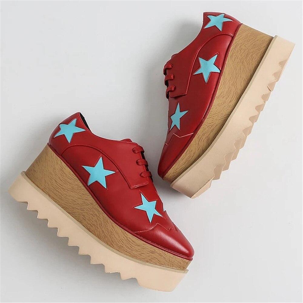 Stkehidba zapatos casuales de plataforma de cuero genuino para mujer zapatos planos de mujer de moda Zapatos de suela de madera para mujer calzado de papá 33  41-in Zapatos planos de mujer from zapatos    2