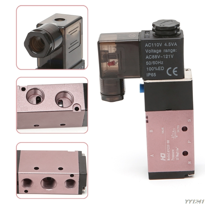 """5 Way 2 Position Pneumatic Control Solenoid Air Valve 12V 24V 110V 220V 1/4"""" Engines Components Auto Replacement