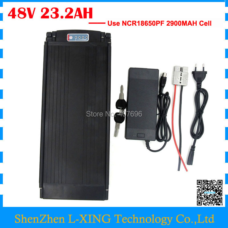 2000W Rear rack 48V 23AH ebike battery 48V 23.2AH lithium ion battery with tail light use 2900mah cell 50A BMS with charger rear rack 20ah 48v akku 48v 1000w lithium ion battery for ebike battery pack with power lights and tail lights for samsung cell