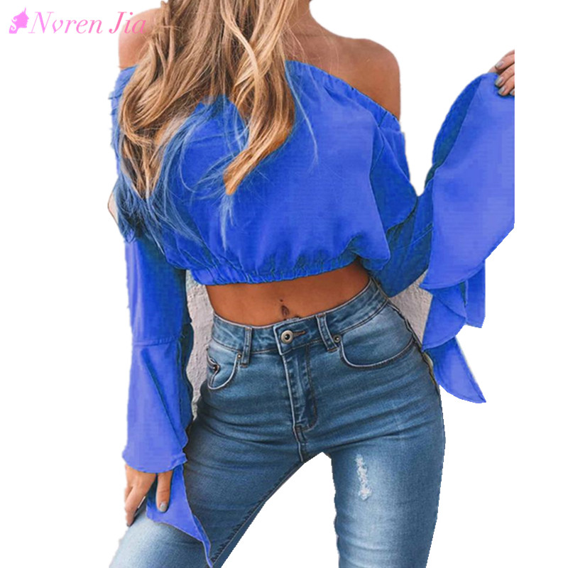 2018 Summer Spring Strapless Blouse Tube Top Ruffle Sleeve Sexy Crop Tops Solid Off Shoulder Tops Female Chiffon Shirt Blusas