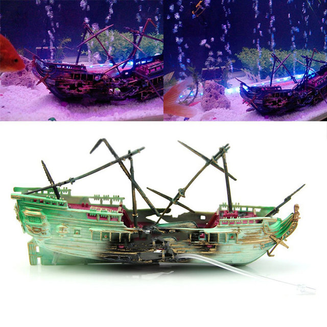 Decorations Wreck Sunk Ship Aquarium Plastic Boat Air Split Shipwreck Fish Tank Decoration For Reptile Box