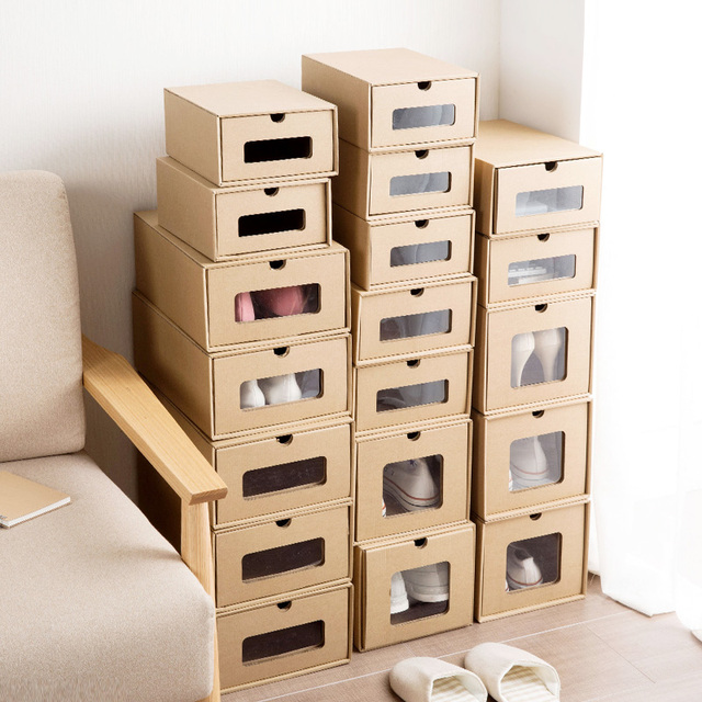 3pcs DIY Kraft Paper Shoes Storage Box With Transparent Window  Environmentally Folding Drawer Type Finishing Box