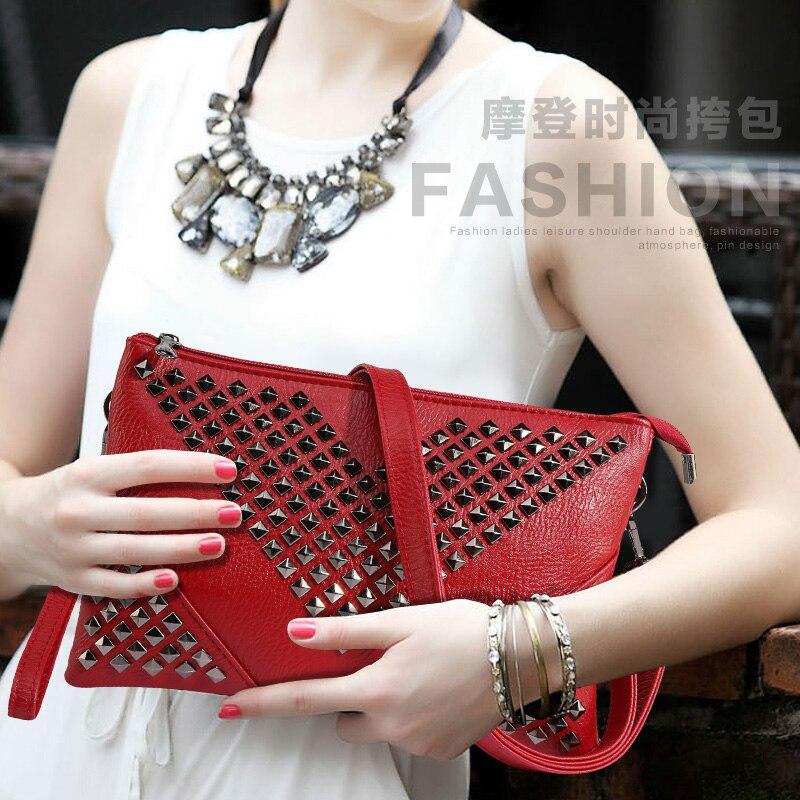 b7528261e4 black rivet women leather handbag female day clutch purses and ...