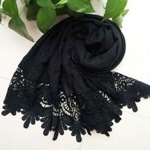 Модный женский Повседневный однотонный мягкий длинный шейный большой шарф, шаль, пашминовый палантин, хлопковый кружевной шарф, один размер для девочек