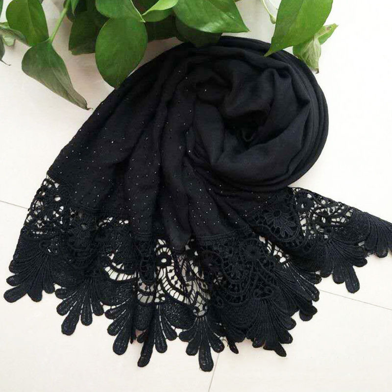 Fashion Women Casual Solid Soft Long Neck Large   Scarf     Wrap   Shawl Pashmina Stole Scarve Cotton Lace One Size For Girls