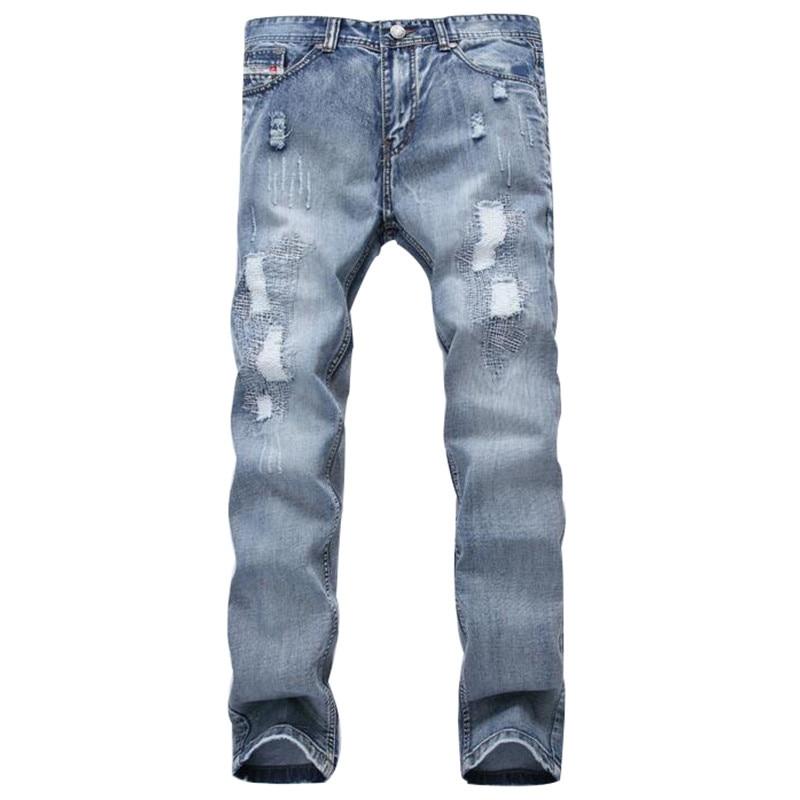 Mcckle/модные Брендовая дизайнерская обувь мужские Рваные джинсы Брюки для девочек голубой Slim Fit Distressed Denim Joggers мужской плюс Размеры Жан Мотобр... ...