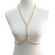 Wholesale Minimalist Sexy Belly Chain Waist Bikini Jewelry V Necklace Aluminum Silver Gold Color Halter for Women