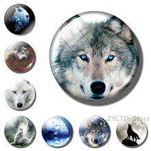 Wolf fridge magnet 30MM Glass cabochon Wolf head refrigerator magnets Refrigerator decoration Punk animal stickers home Decor(China)