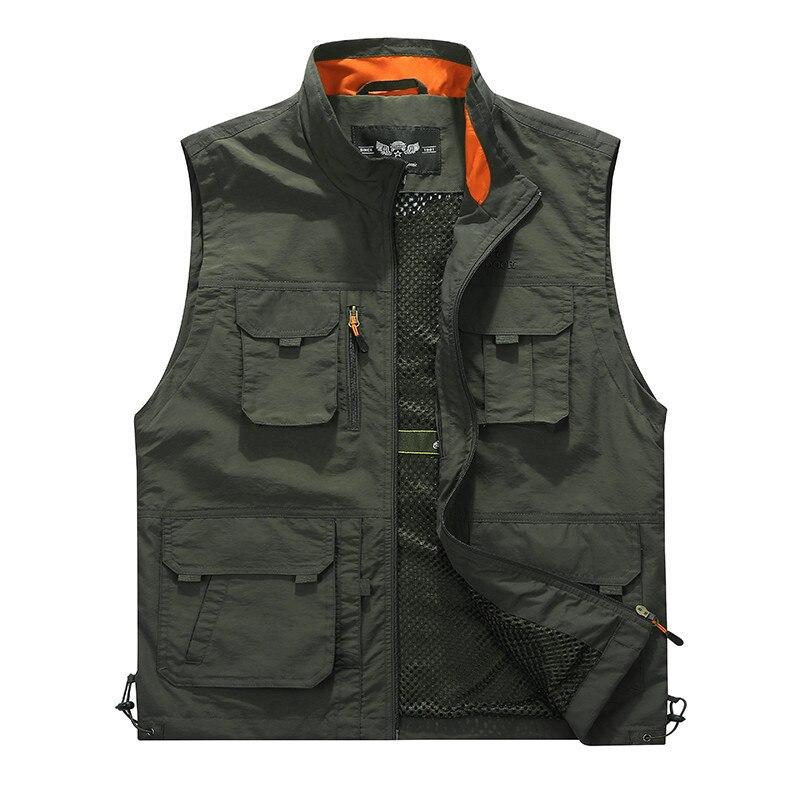 Extérieur décontracté hommes gilet multi-poches vestes à glissière sans manches homme photographie pêche militaire hommes tourisme dérive gilets