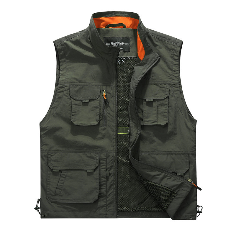 Outdoor Casual Men's Vest Multi-pockets Zipper Jackets Sleeveless Male Photography Fishing Military Men's Tourism Drift Vests