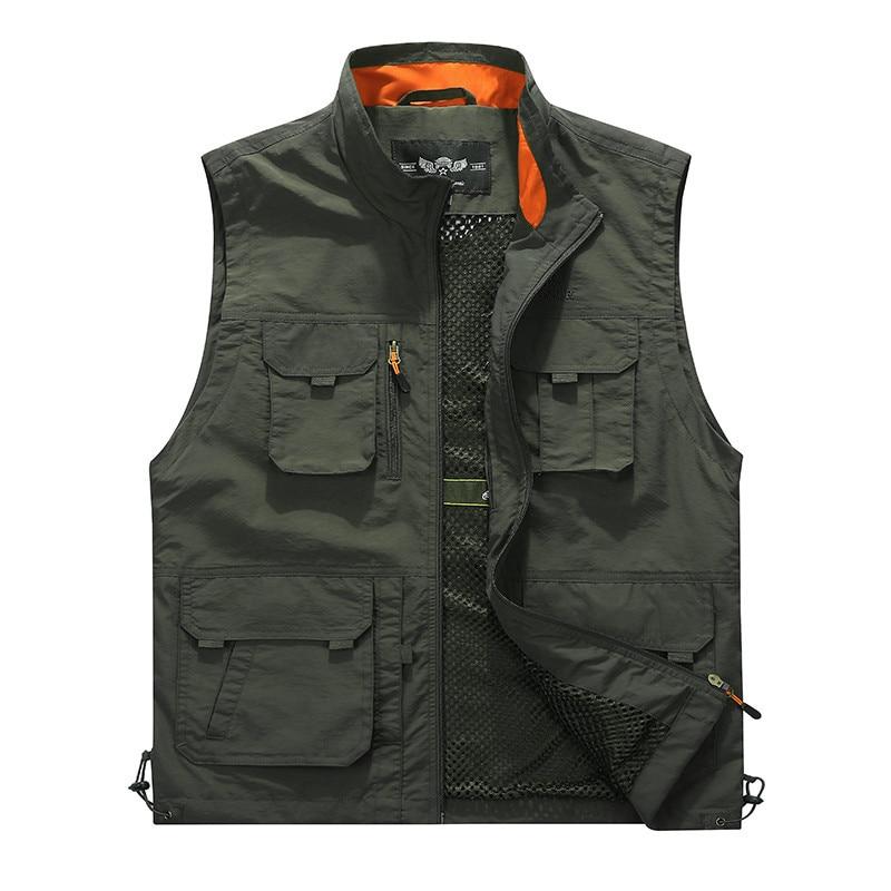 Жилет мужской повседневный на молнии, уличная куртка без рукавов, с несколькими карманами, для фотосъемки, рыбалки, в стиле милитари, для тур...