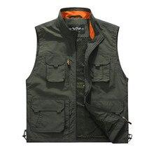 Открытый Повседневное Для мужчин жилет Multi-карманы на молнии куртки без рукавов мужской фотографии Рыбалка военные Для мужчин туризма Drift жилеты