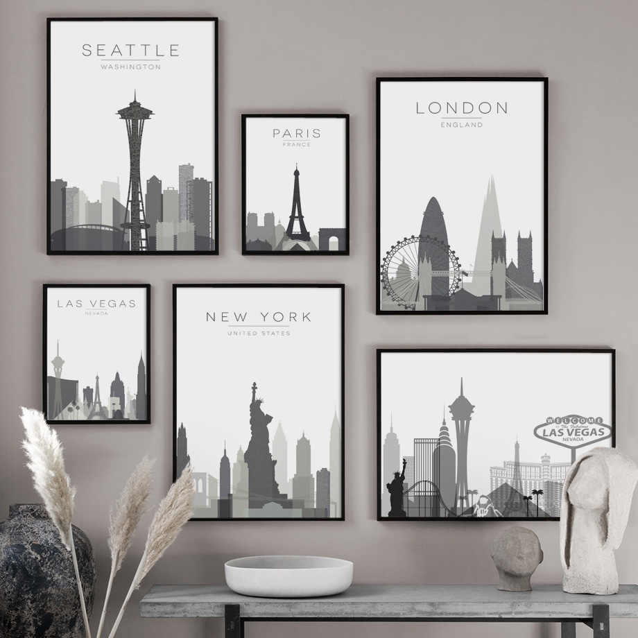 City Map Paris London New York Las Vegas Wall Art Canvas Painting Nordic Posters And Prints Wall Pictures For Living Room Decor