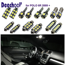 1X Car led Canbus Interior lights kit White for VW POLO 6R, LED Dome/Trunk /Vanity mirror /Footwell light ,VW