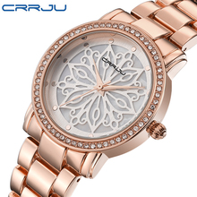 CRRJU de luxe Robe Marque De Mode Montre Femme Dames or Rose Diamant relogio feminino Robe Horloge femelle relojes mujer 2016 Nouveau