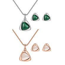 Elegant Austrian Crystal Necklace Earrings Cat Eye Stone Jewelry Sets For Women недорого