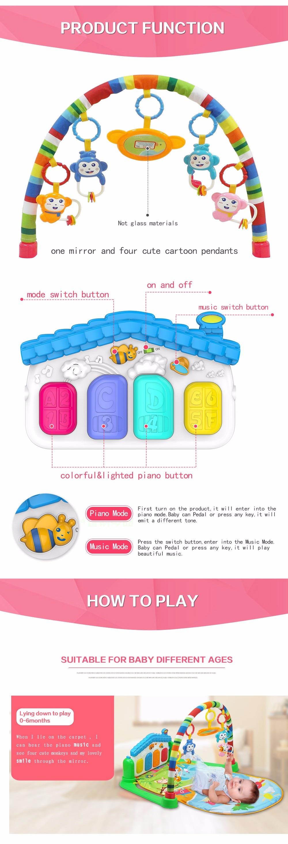 Baby 3 in 1 Piano Safari Playmat Multifunction Animals Fitness GymArch Xmas Gift