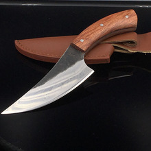 sharp High-carbon steel Hand made fixed hunting knife  58HRC Rosewood handle survival camping tactical rescue knife