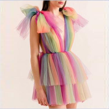 Colorful Mini Prom Dresses Sexy V Neck Mixed Color Tulle Cocktail Dress Rainbow Above Knee Formal Party Gowns 2019
