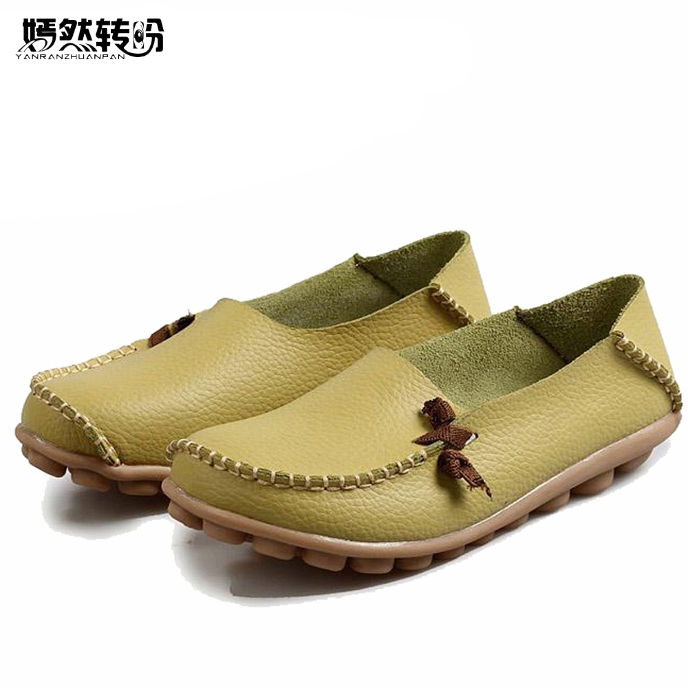 Vintage Women Shoes Genuine Leather Flats Casual Slip On Soft Loafers Moccasins Female Driving Dance Ballet Shoes siketu sweet bowknot flat shoes soft bottom casual shallow mouth purple pink suede flats slip on loafers for women size 35 40