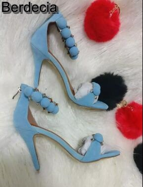 ФОТО Newest 2017 Sky Blue Suede Woman Sandals Sexy Open toe Rivets Studded Ankle Strap High Heel Sandal Rome style Gladiator Sandal