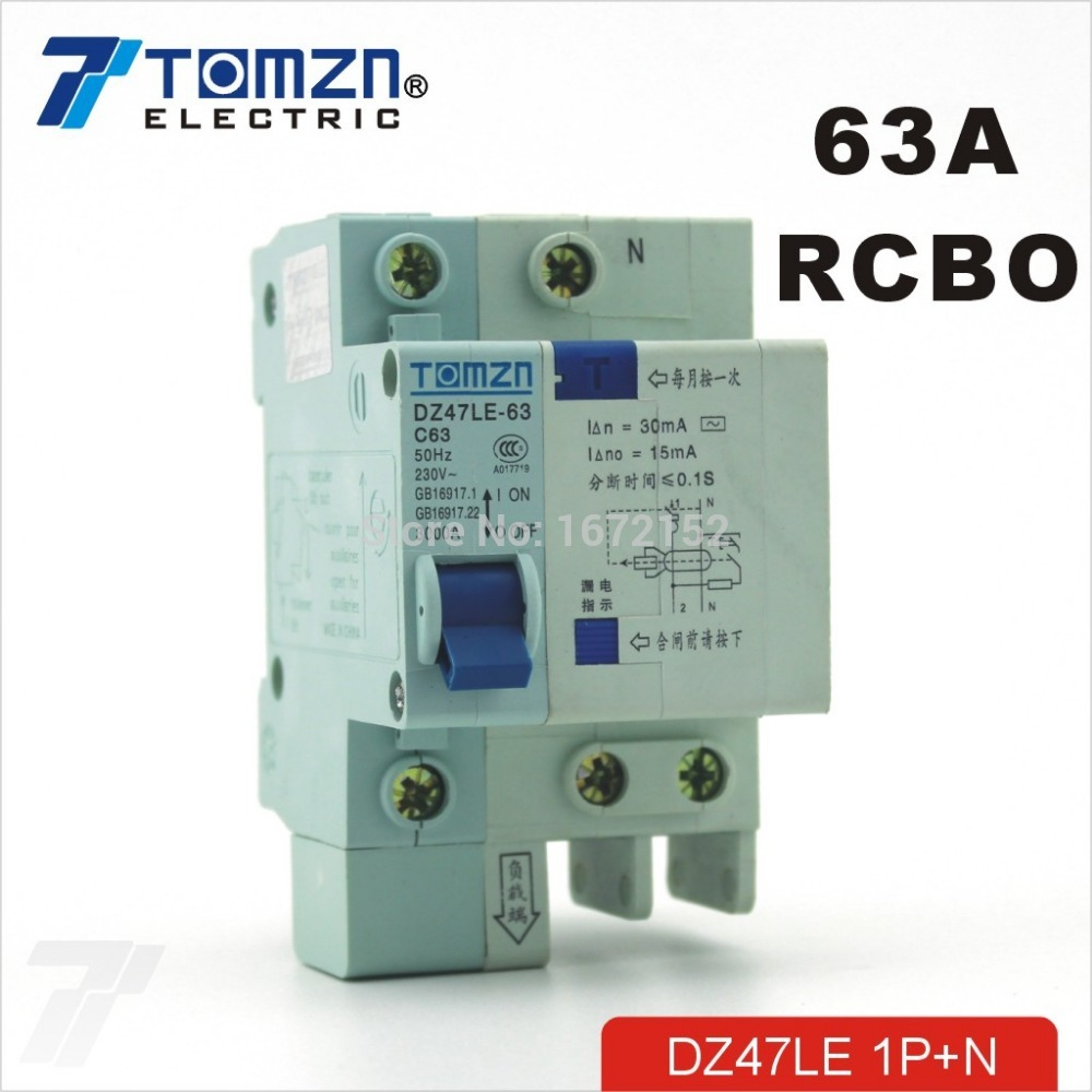 DZ47LE 1P+N 63A C type 230V~ 50HZ/60HZ Residual current Circuit breaker with over current and Leakage protection RCBO dz47le 3p n 63a 400v 50hz 60hz residual current circuit breaker with over current and leakage protection rcbo