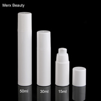 15ml/30ml/50ml Cosmetic Airless Bottles White Plastic Treatment Presse dispenser Pump Home Travel Cosmetics Packing,MERX BEAUTY
