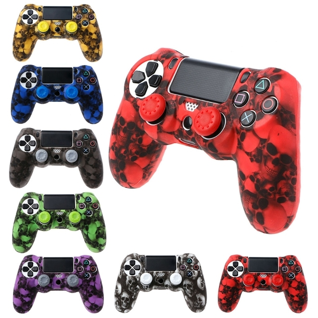 2018 New Skull Silicone Gamepad Cover Case + 2 Joystick Caps For PS4 Pro Slim Controller