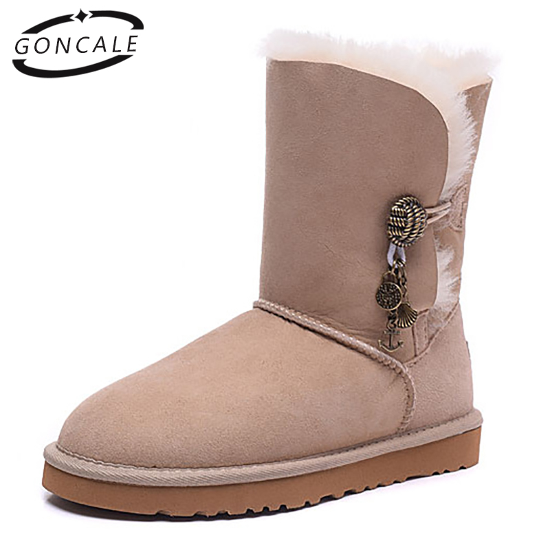 GONCALE Winter fur womens snow boots  real sheepskin leather fur lined rubber sole winter snow boots for female shoes unisex insoles for snow boots shoe pad real fur natural sheepskin thermal insoles for winter boots shoes keep warm brioche