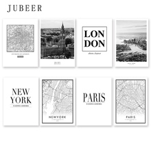 Modern New York London Paris City Map Wall Art Picture For Living Room Black and White Posters Prints Home Decor