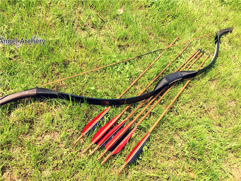 Free shipping good quality black Leather longbow 20lbs to 60lbs with 6 bamboo arrows for hunting