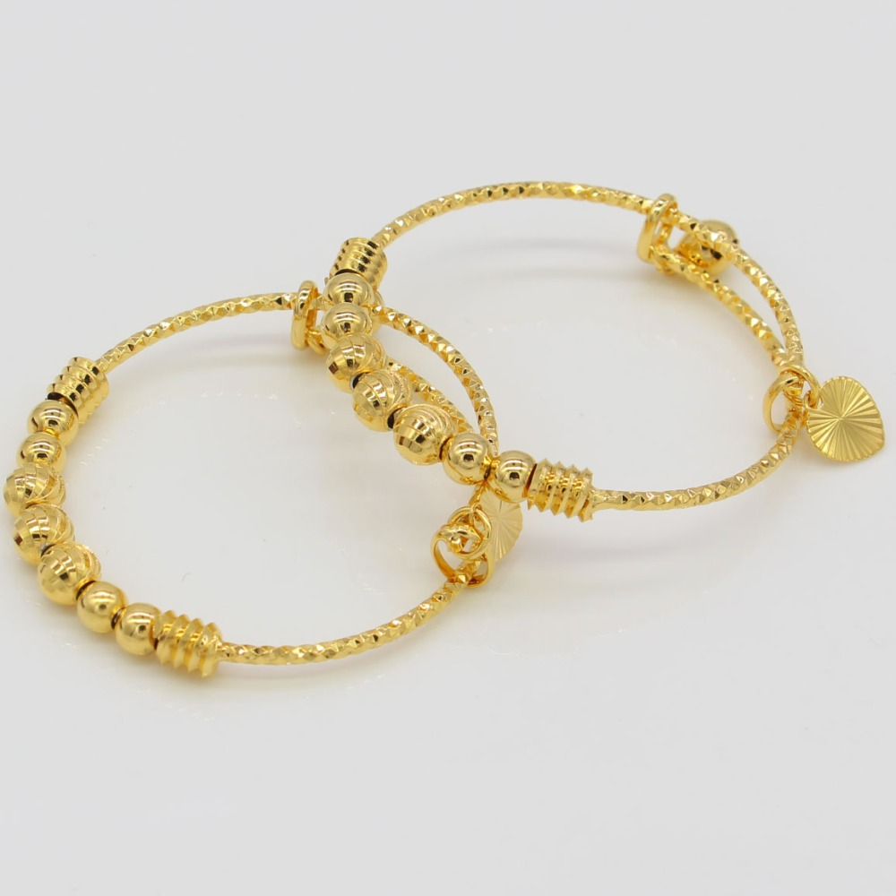 2 Piece Yellow Gold Filled Baby Kids Bell Bangle & Bracelet