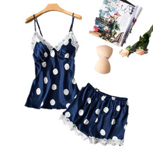 Herislim Silk Pajama Set Women Fashion Polka Dot Pijamas Sexy Lace Trim Cami And Shorts 2Pcs Pajamas Sleepwear Nighty Home Wear