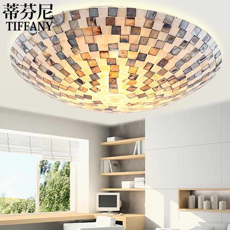 16inch Mediterranean art European LED shell ceiling light simple bedroom lamp Tiffany corridor balcony living room lamps цена 2017