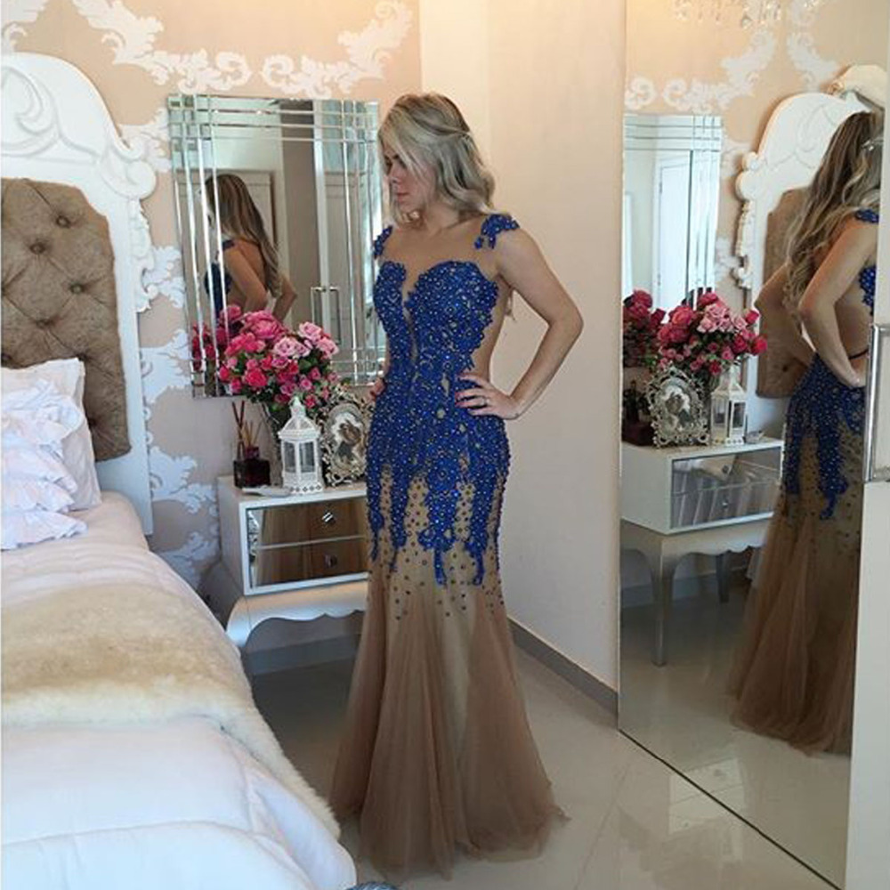 Sexy Backless Mermaid Long   Prom     Dress     Dress   2015 Vestido De Festa Longo Royal Blue Pearl Cheap Evening   Dresses   Party Elegant