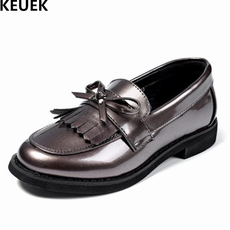New Spring/Autumn Children Shoes Girls Tassel Leather Shoes Kids Single Shoes Bowknot Princess Baby Dance Shoes Loafers 02