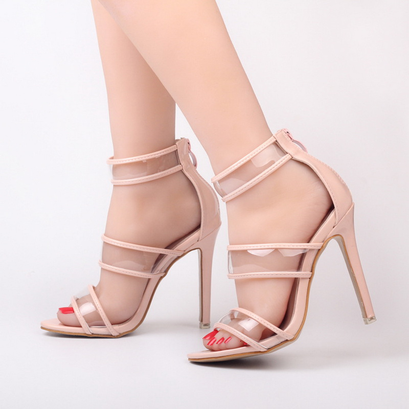 ФОТО Europe United States Exquisite open toe Transparent Glass film Hollow fine with high heel Sandals shoes