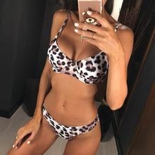 2019 Bikini Women Swimwear Female Swimsuit Two-pieces 6 Colors Sexy Leopard Set Brazilian Bather Bathing Suit Swim