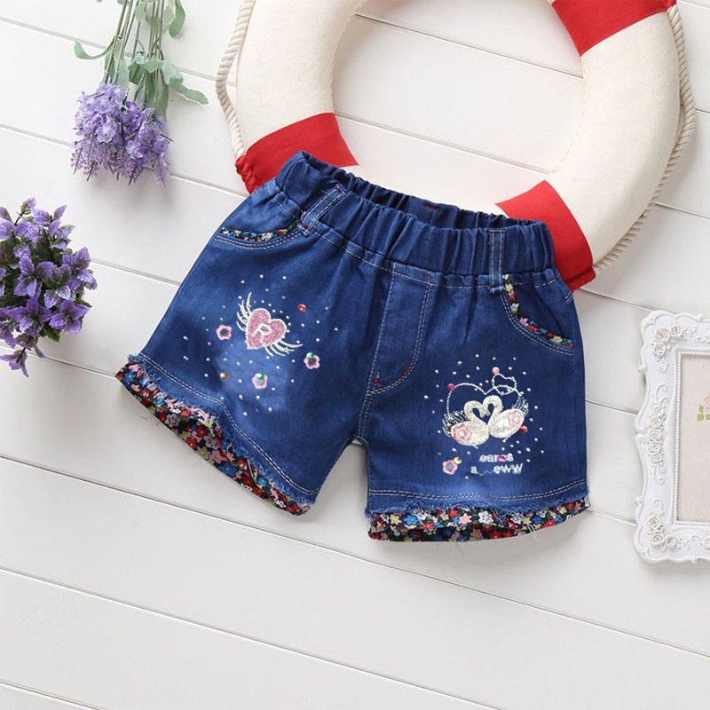 IENENS 2-5Y Summer Girls Denim Pants   Shorts   Baby Girl Jeans Thin Soft Tousers Bottoms Kids Children Casual Clothes Clothing