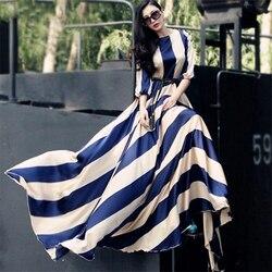"""Kobiety w paski sukienka w dużym rozmiarze elegancka długa plaża sukienka w dużym rozmiarze pół rękaw sukienka z dekoltem w kształcie litery """"o"""" tunika czeski sukienka Slim powołanie sukienki 1"""