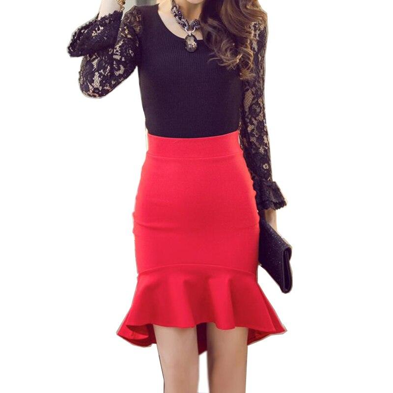 Anasunmoon Black Skirt Asymmetrical Ruffles Elegant Autumn Fashion Womens Hem Spring