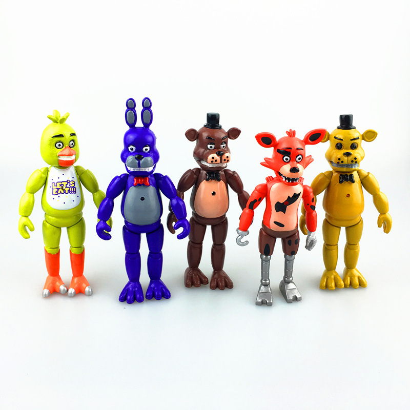 5pcs/set Movable dolls  Five Nights at Freddys Bear Fox Action Figures toy dolls 14cm For the boy's birthday gift