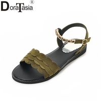 DoraTasia Large Size 34 43 Flock Summer Sandals Women Shoes Leisure Flat With Comfort Woman Shoes
