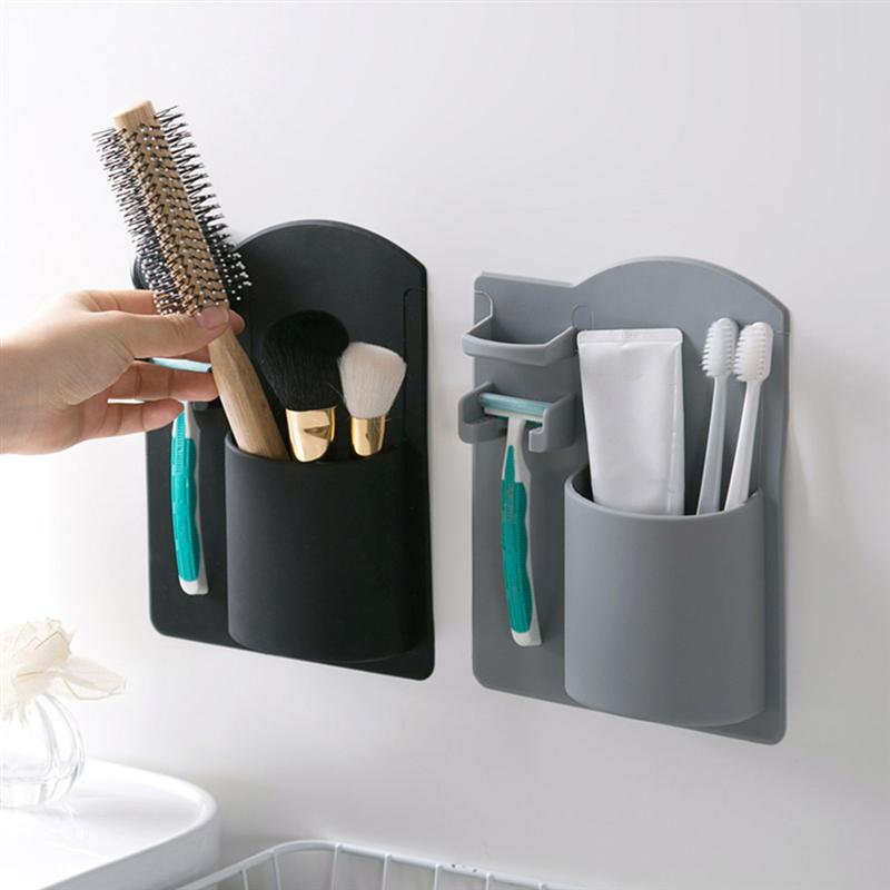 Durable Toothbrush Holder Wall Mounted No Drilling Bathroom Storage Organizer Toiletries Razor Holder Home Bathroom accessories-in Toothbrush & Toothpaste Holders from Home & Garden