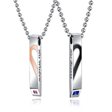 Fashion Heart Stainless Steel Pendant Necklaces For Couple Lover with CZ charm Jewelry Romantic Accessories Gift