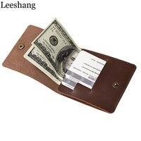 Leeshang Original Handmade Cowhide Genuine Leather Wallet Men Brown Black Mini Slim Short Money Clip Wallet